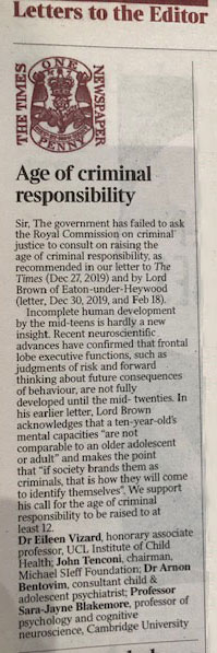 The Age of Criminal Responsibility Michael Sieff Foundation letter to The Times 20 February 2021